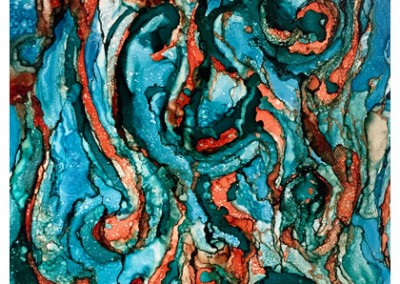 Turquoise Marble Abstract Swirl- 8x10