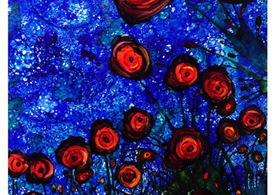 Red Poppies at Night 8x10
