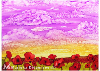 Sunrise over Poppy Field 10x8