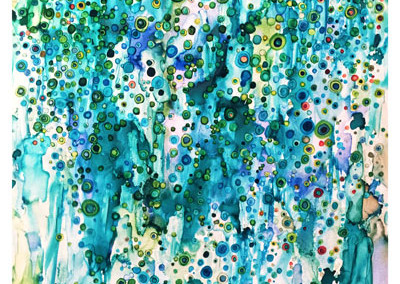 Turquoise Dot Abstract- Sold